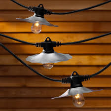 Galvanized Outdoor Light by String Lights With Galvanized Shades And 7 Light Bulbs 35ft Long