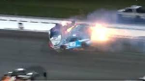 monster truck crashing videos video huge crash during nascar race at kansas autoweek