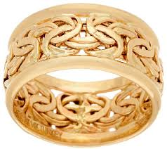 gold band ring 14k gold byzantine inlay band ring page 1 qvc