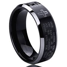 titanium mens wedding bands 8mm titanium mens womens rings lord s prayer with cross praying