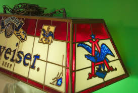 budweiser stained glass pool table light stained glass budweiser pool table light vintage 1972 pool table