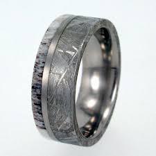 deer antler wedding band meteorite ring antler ring gibeon meteorite and deer antler