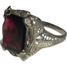 art deco 14 karat white gold filigree faceted deep red garnet ring