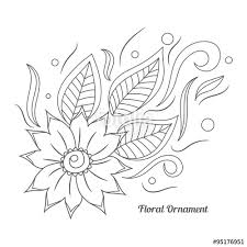 floral ornament in indian mehndi style floral doodle
