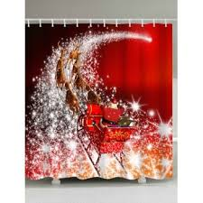 Santa Curtains Santa Coming Design Waterproof Christmas Shower Curtain Red W