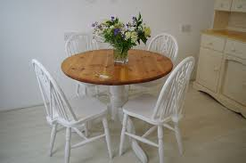 Pine Pedestal Dining Table Round Pine Pedestal Table And 4 Wheelback Chairs Painted Vintage