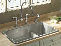 brushed nickel faucet with stainless steel sink bathroom home depot quartz countertops in brown with double handle