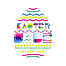 easter egg sale easter sale banner design template geometric lettering and