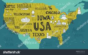 Image Of Usa Map handdrawn illustration usa map hand lettering stock vector