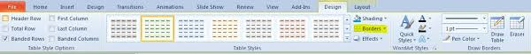 table tools design tab powerpoint 2010 borders button on table tools design tab