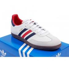 white samba adidas originals samba white blue mens clothing from attic