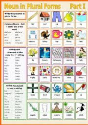 worksheet noun in plural forms part i