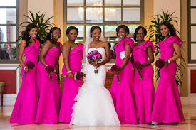 Fuchsia Pink Bright Pink Bridesmaids Dresses Long Accessories