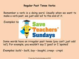 regular and irregular past tense verbs lesson plan and worksheets