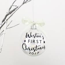 Baby First Christmas Bauble Personalised by Baby U0027s First Christmas Glass Christmas Bauble