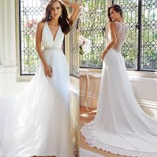 maxi wedding dress new arrival simple white summer wedding dresses v