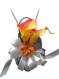 shades of orange colorful artificial flower wedding bouquet corsage wrist corsage