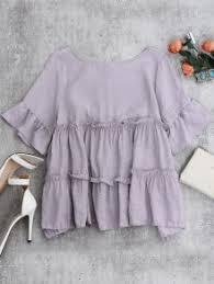 lavender blouses ruffles smock blouse light purple blouses one size zaful