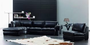 Cowhide Leather Rug L Shaped Black Leather Couch Connected By Black Wall Theme And