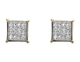 sharp earrings 10k yellow gold 6mm sharp edge square kite genuine diamond stud