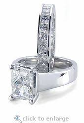 princess cut cubic zirconia wedding sets renaissance 2 carat cubic zirconia pave three ring bridal