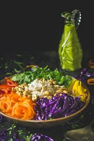 chopped chicken salad with thai green curry dressing