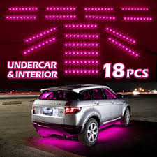 Interior Car Led Light Kits Amazon Com Pink Premium 18pcs Underglow Car Interior Three Mode