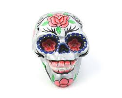 silver sugar skull decor hand painted skull mexican sugar skull