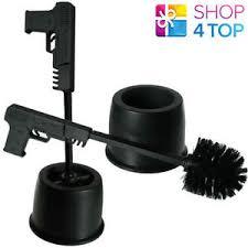 Funny Bathroom Gifts Pistol Gun Shaped Toilet Brush With Holster Black Bathroom Funny