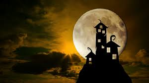 halloween footage scary dark castle animation dramatic sky with