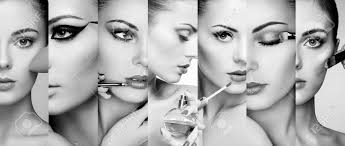 makeup artist beauty collage faces of women fashion photo makeup artist