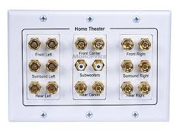 home theater connection 3 gang 8 2 surround sound distribution wall plate monoprice com