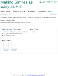 introduction to similes lesson plan education com