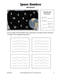 space numbers u2013 printable addition and subtraction fact families