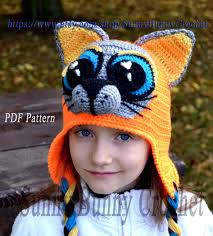 crochet hat pattern crochet pattern child animal hat cat