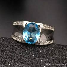 jewelry topaz rings images Fashion blue topaz ring for man solid 925 sterling silver man ring jpg