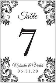 Table Card Template by Elegant Black Damask Corners Flat Table Card Template Downloadble