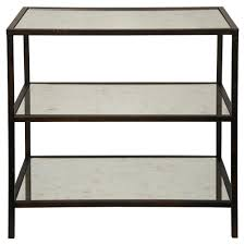 black side table with shelf randy modern black metal antiqued mirror shelf 3 tier side table