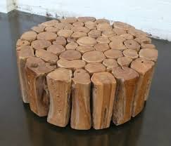 simple brown metal round industrial coffee table design with wood