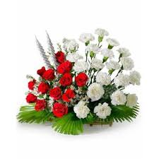 arrangement of 20 white carnations and 15 red rose myflowergift