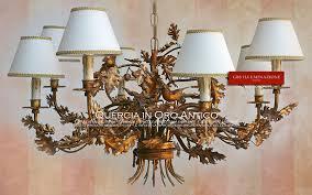 ladari stile antico ladario quercia in oro antico gbs illuminazione ferro