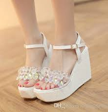silver wedding shoes wedges glitter wedding shoes cinderalla white silver beading