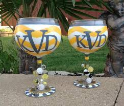wine glass with initials wink design murals custom painted glasses gifts wink