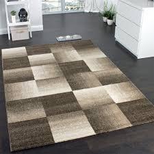 Wohnzimmer Bild Modern Designer Carpet Modern Home Rug Checkered Squares In Brown Beige