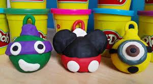 play doh christmas ornaments minions ninja turtles mickey how to