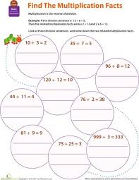 division worksheets fact triangles multiplication and division