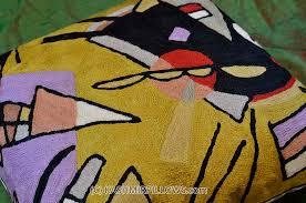 Accent Sofa Pillows by Kandinsky Black Violet Modern Throw Pillows Gold Yellow Cushion