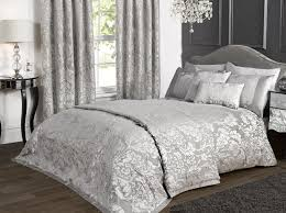 Damask Comforter Sets Bedding Marston Damask Duvet Cover Embossed Floral Motif Silver