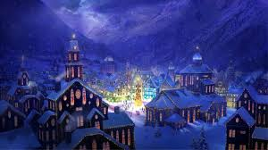 picture holiday snow town house mountain lights christmas tree hd