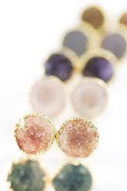 druzy stud earrings keahi earrings gold druzy stud earrings 37 stunning stud